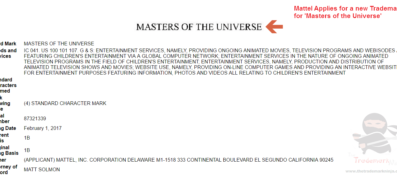 Toy Maker @Mattell applies for a new US Trademark for MastersOfTheUniverse