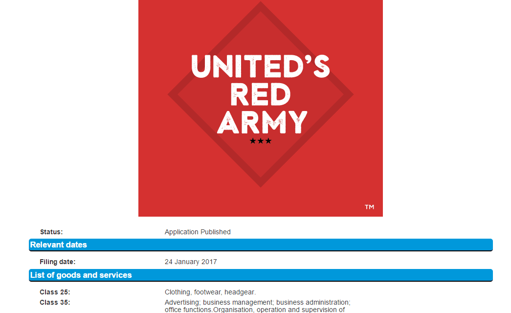 Trademark application for Uniteds Red Army in the UK United RedArmy