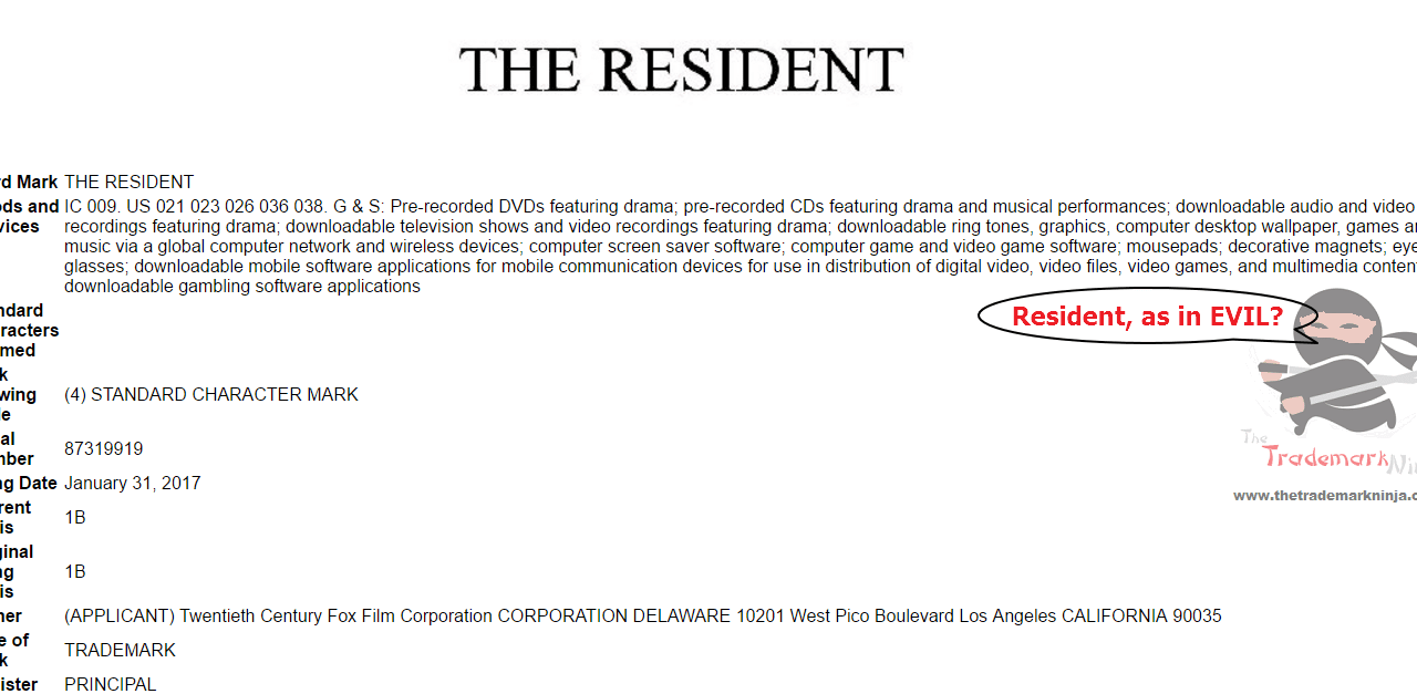 Trademark filed in the US by @20thCenturyFox for TheResident