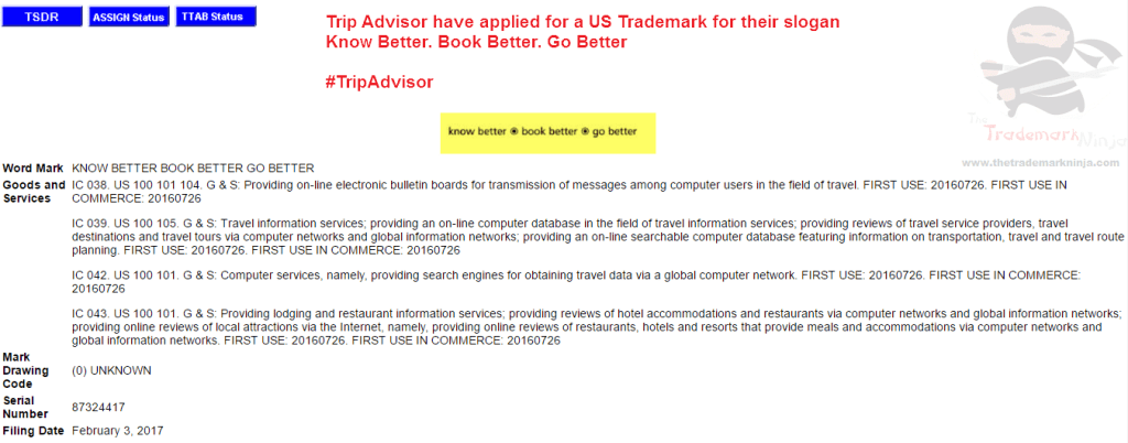 Trip Advisor applies for US trademark for KnowBetter BookBetter GoBetter <a href=