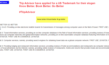 Trip Advisor applies for US trademark for KnowBetter BookBetter GoBetter @Tripadvisor Tripadvisor