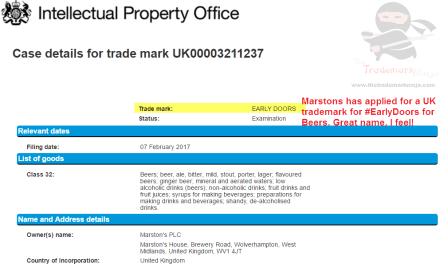 UK Trademark application by @Marstons for EarlyDoors as the name of a beer