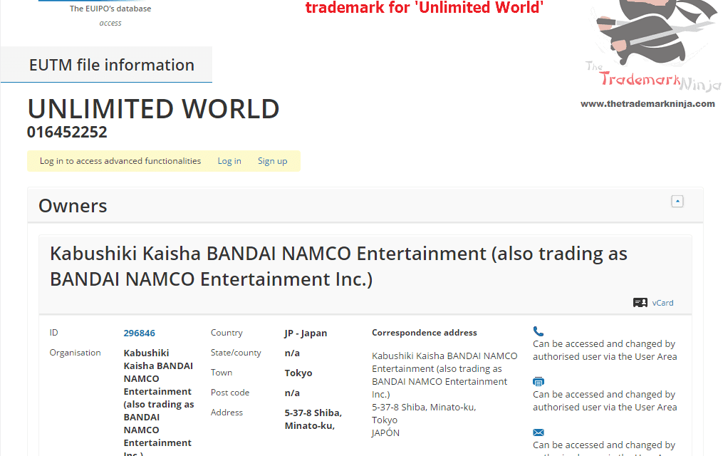An EU Trademark application has been filed by @NamcoBandai for UnlimitedWorld Namco Bandai