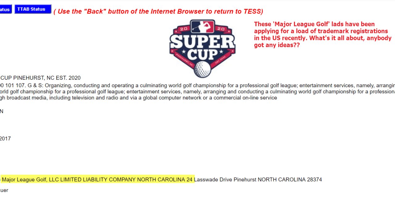 Another trademark application for MajorLeagueGolf this time for Super Cup 20 20 at pinehurst