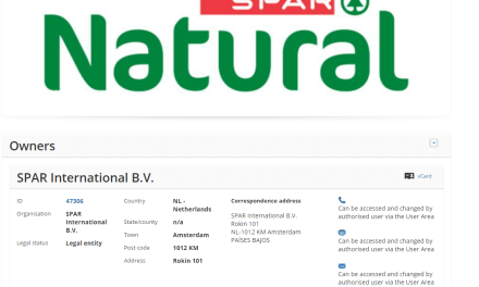 Applicatoin for trademark for SparNatural lodged by @Spar Spar
