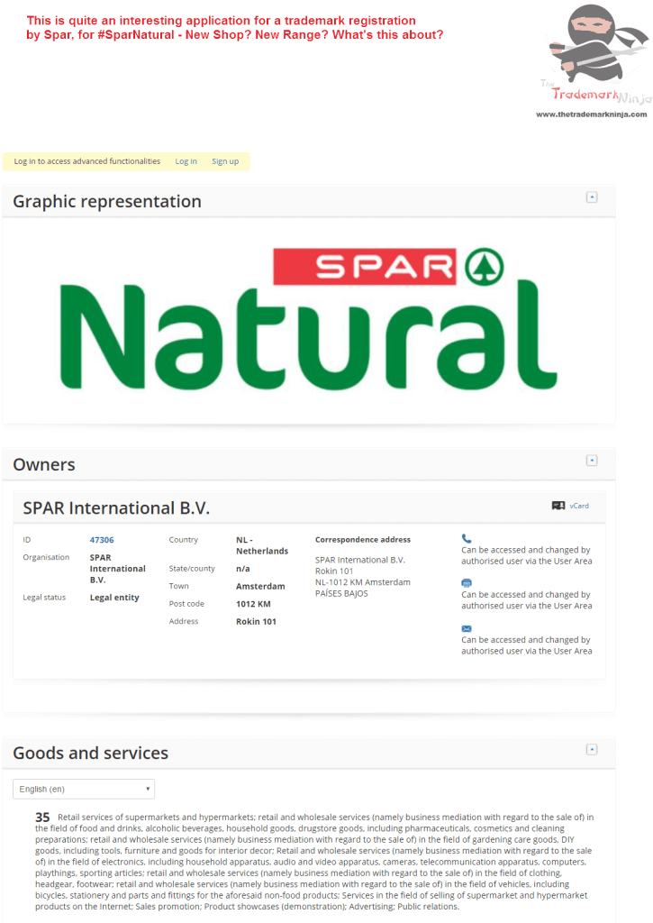 Applicatoin for trademark for SparNatural lodged by <a href=