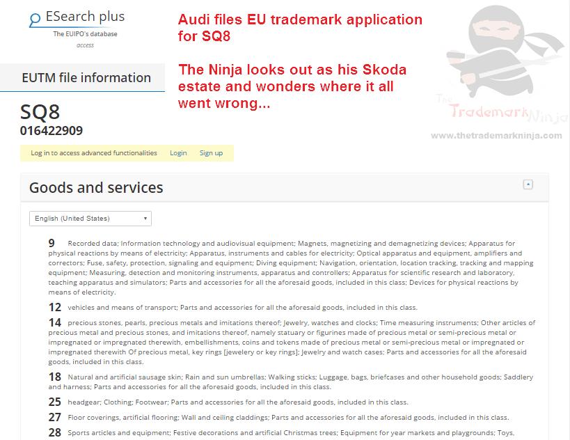 Audio files EU trademark application for SQ8 Audi <a href=