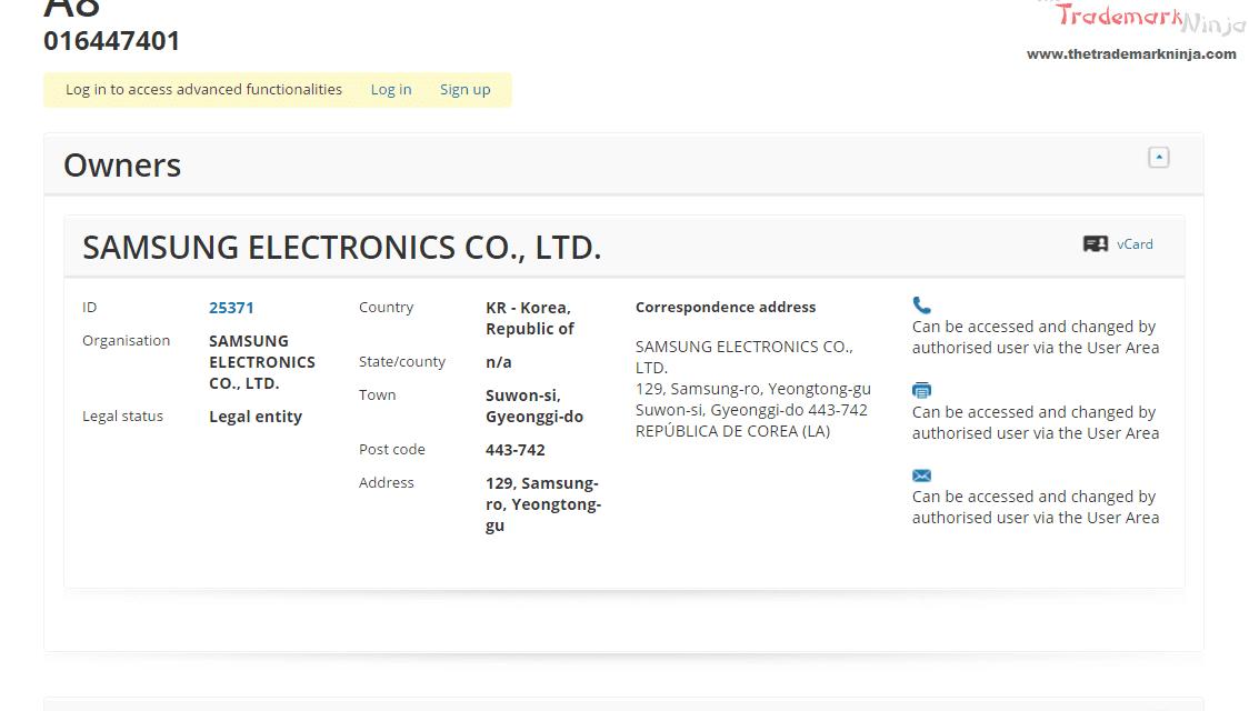 EU Trademark application filed by @samsung for A8 samsung