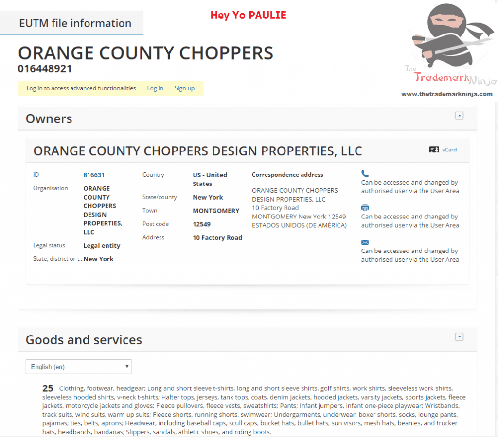 Orange County Choppers lodges EU trademark applciation for well Orange County Choppers OCC OrangeCounty