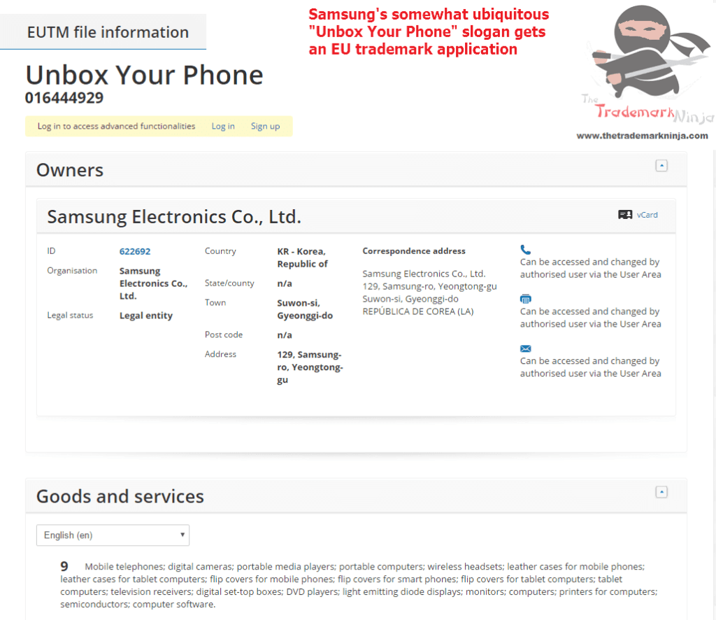 Samsungs EU trademark appliation for UnboxYourPhone Samsung <a href=