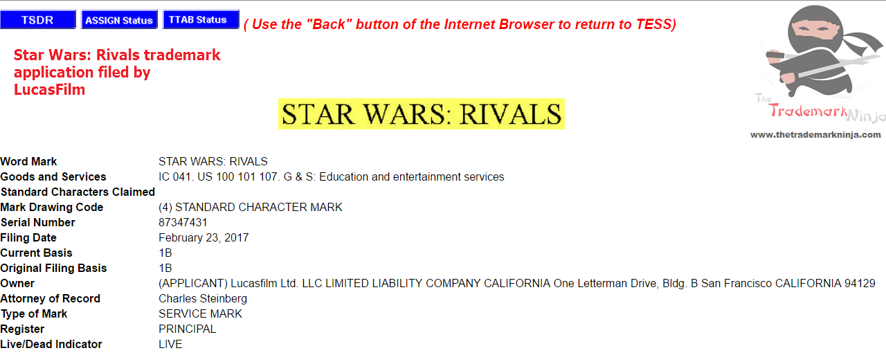 Star Wars Rivals trademark application filed by LucasFilm in the US StarWars StarWarsRivals