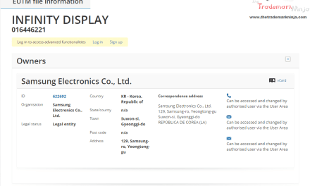 The InfinityDisplay trademark application filed by @SamsungUK in the EU