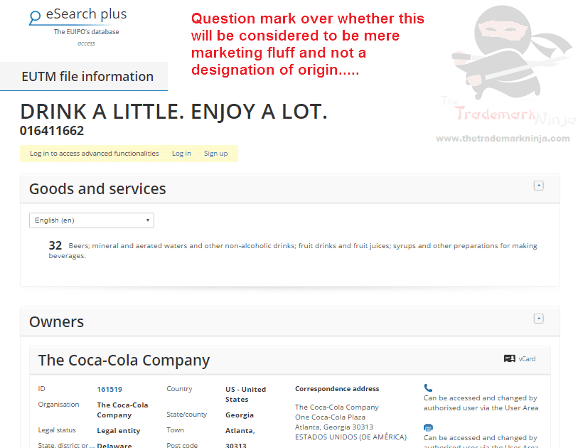 Trademark EU @CocaCola applies for DrinkALittleEnjoyALot as a trademark CocaCola Coke DrinkALittle
