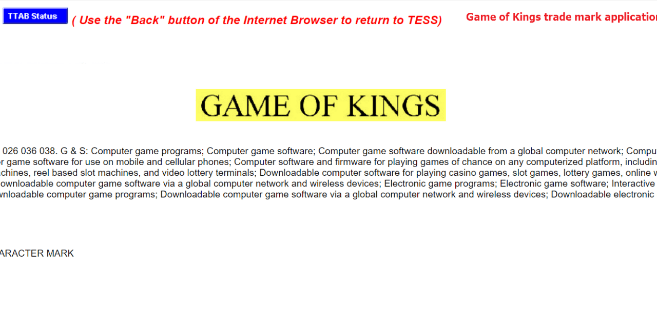 Trademark registration sought in the us for GameOfKings