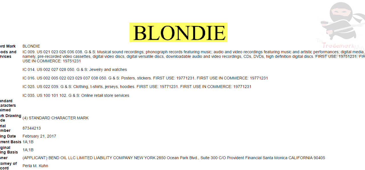 US trademark application for Blondie