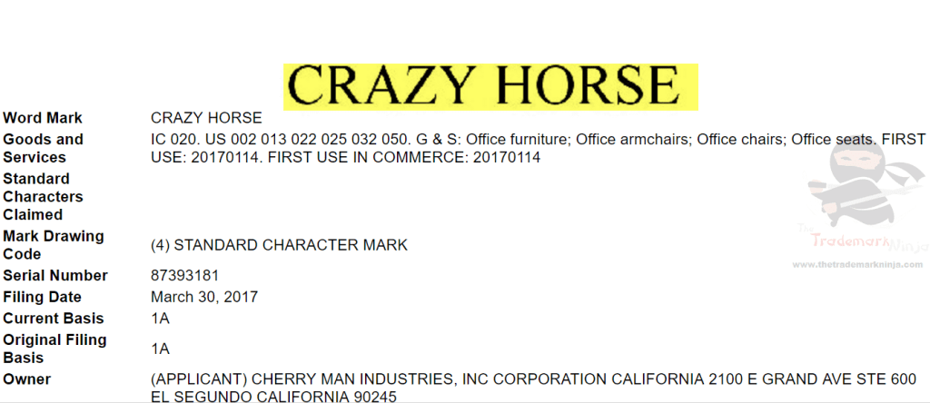 US Trademark Application for CrazyHorse Trademarks