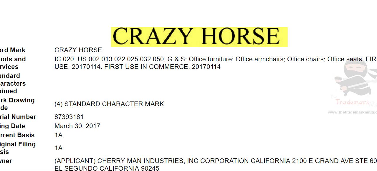 US Trademark Application for CrazyHorse Trademarks