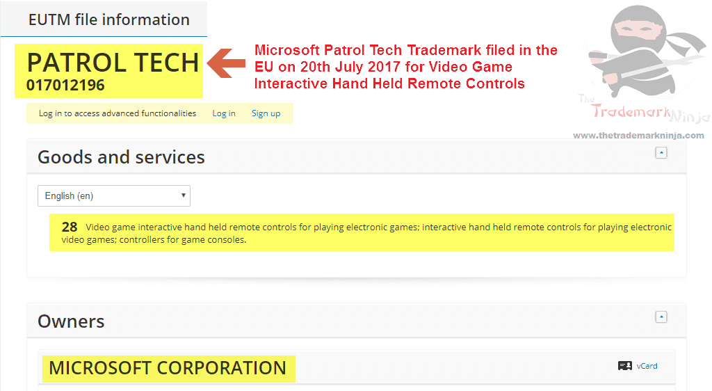 Microsoft Patrol Tech Trademark Application