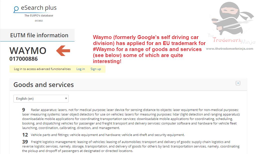 WAYMO trademark filed in teh EU for all sorts of technical gadgetry WAYMO SelfDriving Google