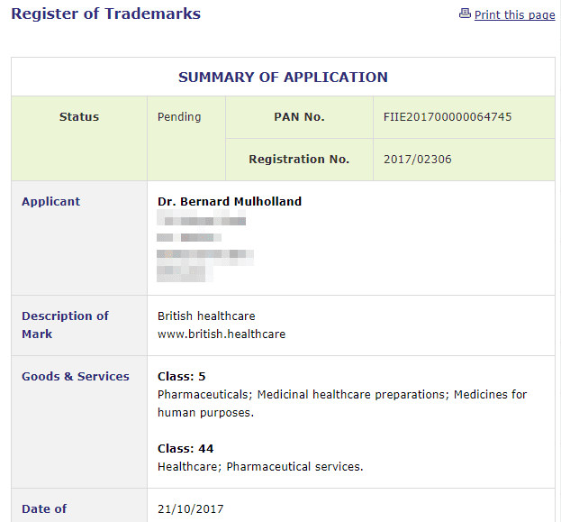 British Healthcare Irish trademark application for British Healthcare and web address #Trademark #TrademarkIreland