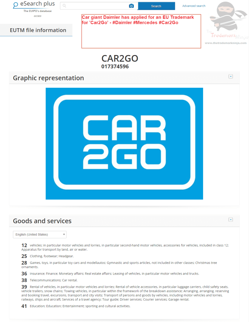 Car giant Daimler has applied for an EU Trademark for Car2Go Daimler Mercedes Car2Go 1