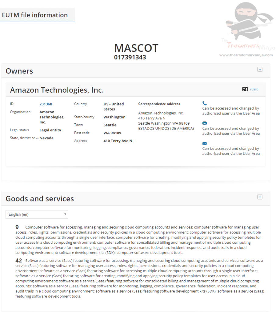 EUTM Amazon applies for EU Trademark for the word Mascot which is well interesting