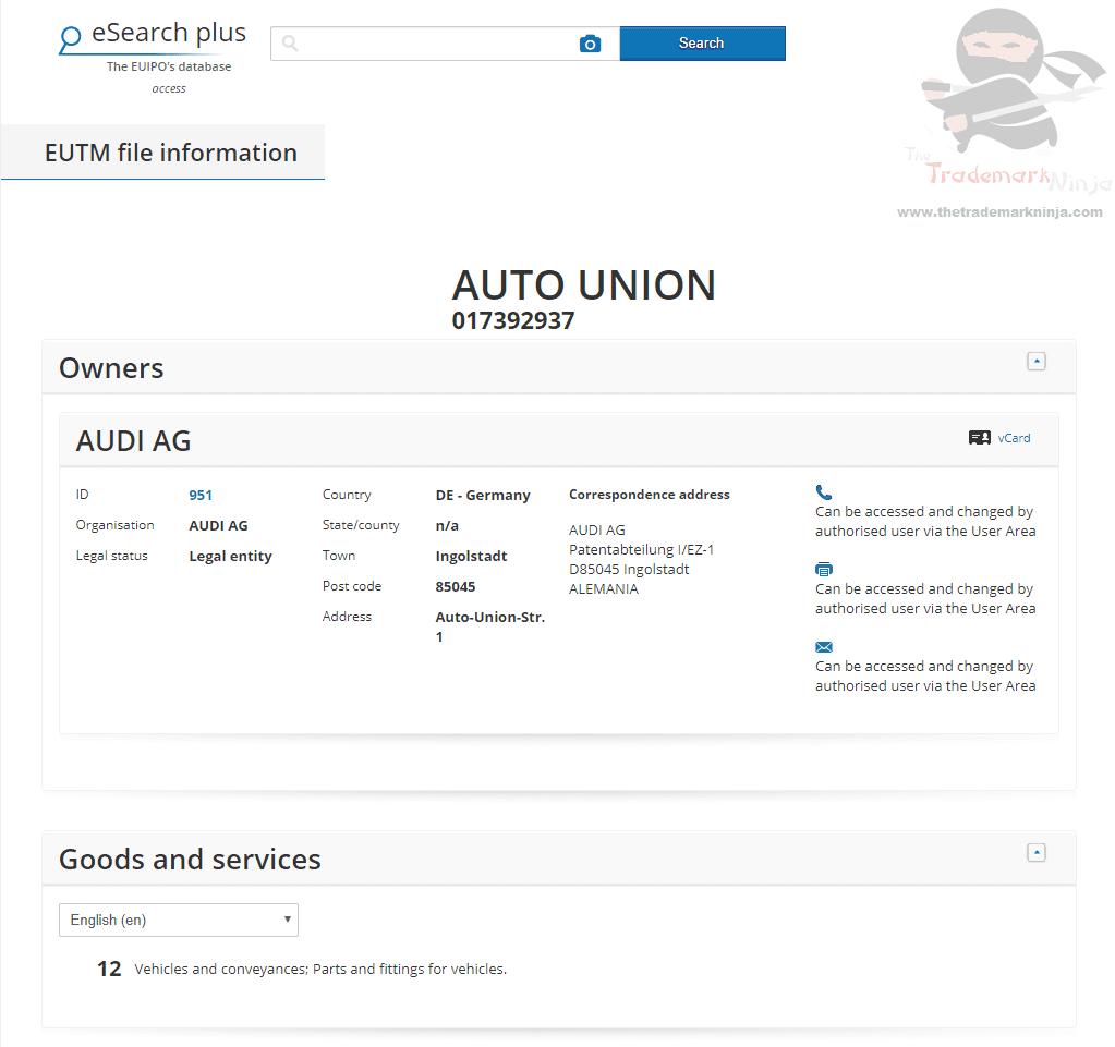 EUTM Audio Applies for a European Trademark for AutoUnion Audi Trademark EUTM