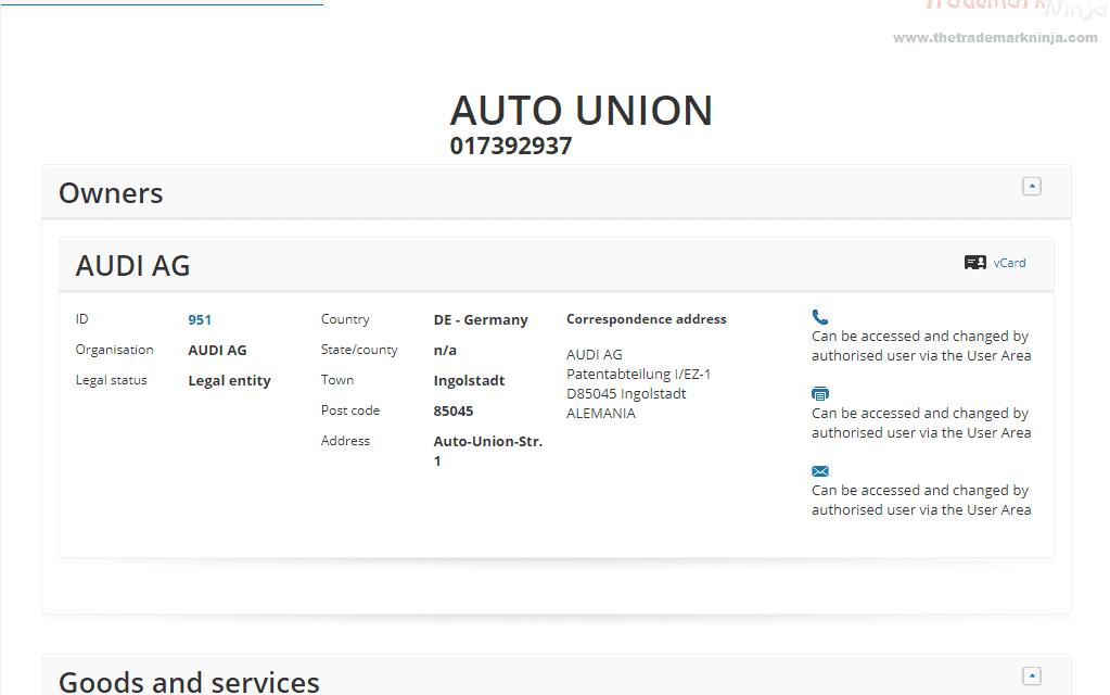 EUTM – Audio Applies for a European Trademark for #AutoUnion #Audi #Trademark #EUTM