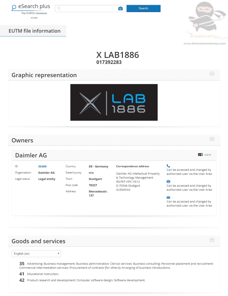EUTM Car Giant Daimler applies for EU Trademark for XLab 1886 XLab Mercedes XLAB1886 1886