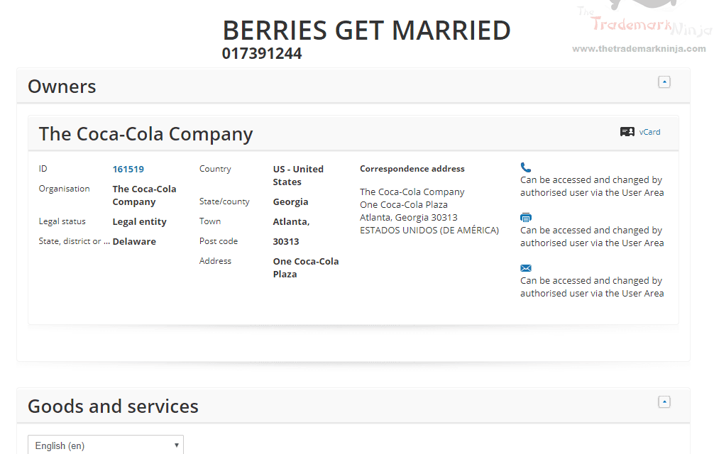 EUTM – Coca Cola applies for Trademark in EU for 'Berries Get Married' for soft drinks #BerriesGetMarried #CocaCola