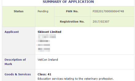 Irish Trademarks Application filed for VetCon Ireland with Irish Patents Office #VetCon #VetConIreland