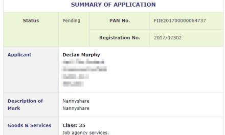 Nanny Share Trademark application filed with Irish Patents Office #NannyShare #TrademarkIreland #TM