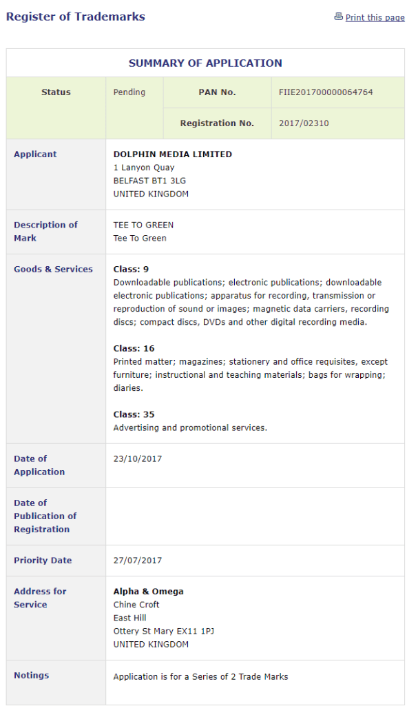 Trademark Ireland Application by Dolphin Media Limited for trademark for TeeToGreen Golf Trademark