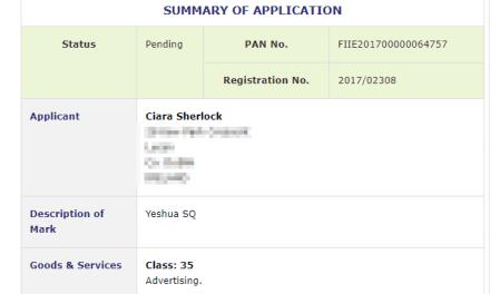 Trademark Ireland Application for YeshuaSQ filed for Advertising #Trademarks #IrishTrademark