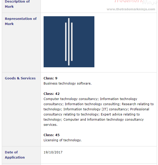 Trademark Ireland Codec DSS trademark application for three bar logo filed with Irish Patents Office Trademark