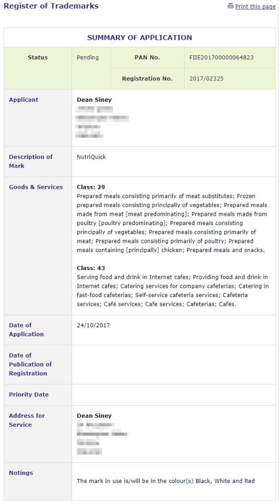 Trademark Ireland Dean Siney has applied for an Irish Trademark for NutriQuick Trademark Trademarks