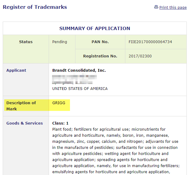US company applies for Grigg as a tradmark in ireland Grigg Trademark TrademarkIreland