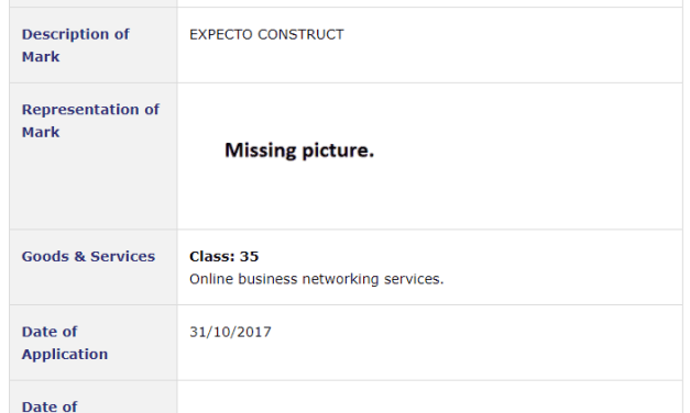 Trademark Ireland  -Application filed for 'Expexcto Construct' for Online Business Networking Services #Expecto #ExpectoConstruct