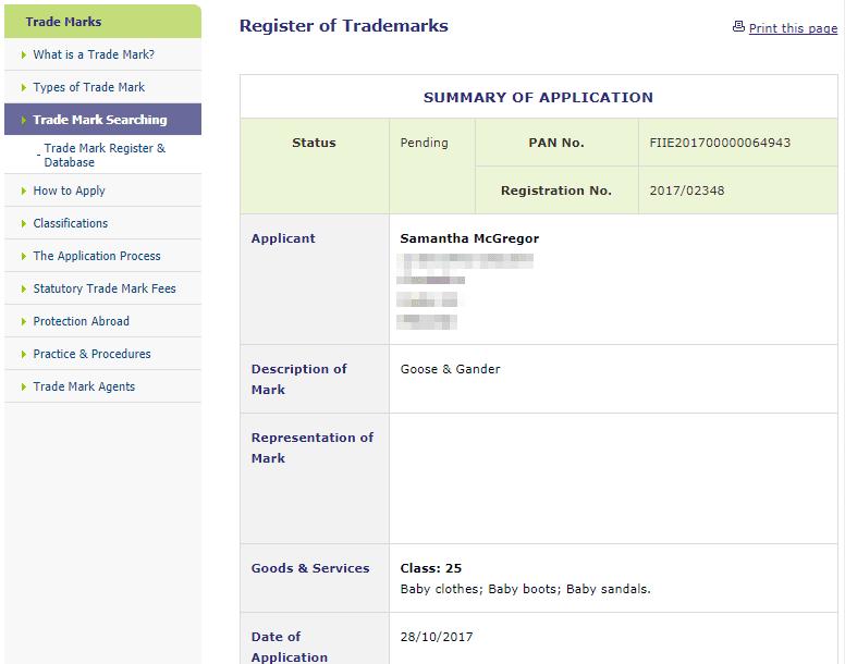 Trademark Ireland Application for trademark for Goose Gander in IPO GooseAndGander Trademark 1