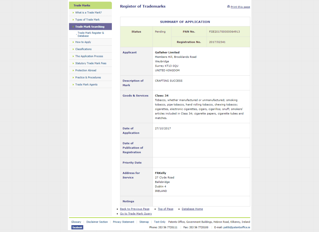 Trademark Ireland Filed Irish Trademark Application for Crafting Success CraftingSucceess Tobacco Trademark