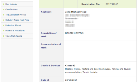 Trademark Ireland Irish Trademark applied for for Nordic Hostels for well hosterls HostelIreland Hostel 1