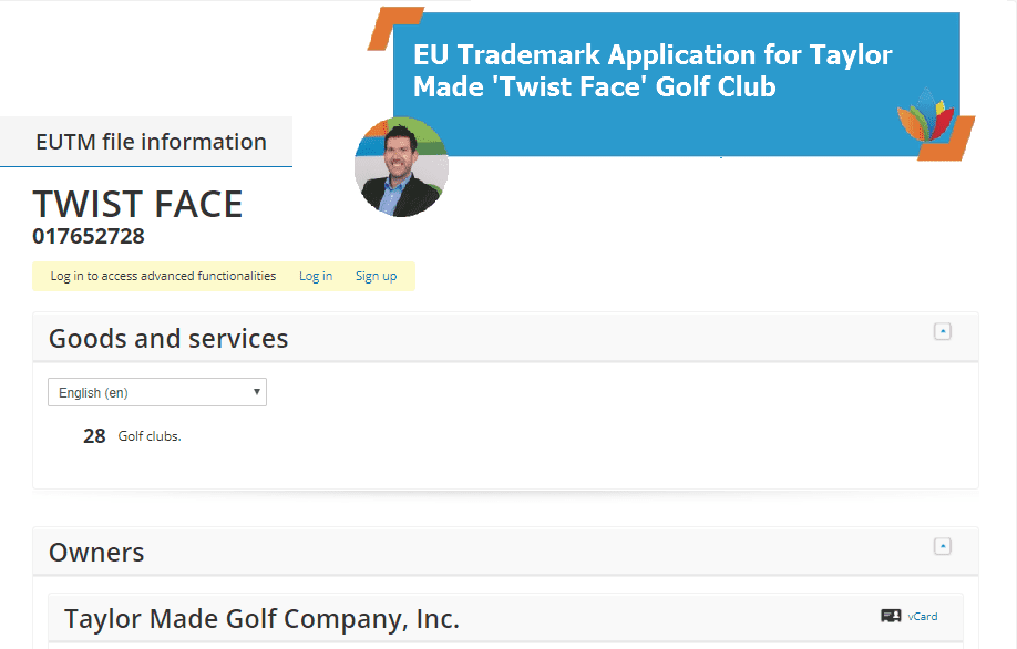EU Trademark Application for Taylor Made Twist Face Golf Club TwistFace TaylorMade
