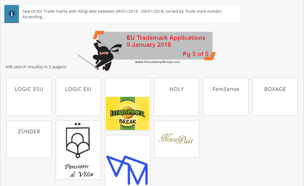 EUTM EU Trademark Applications 9 January 2018 5 of 5