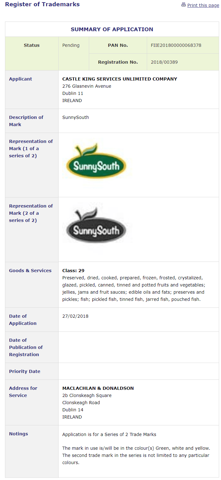 Trademark Ireland Application for SunnySouth filed by company in Dublin for foodstuffs SunnySouthEast TM Trademark IP Law