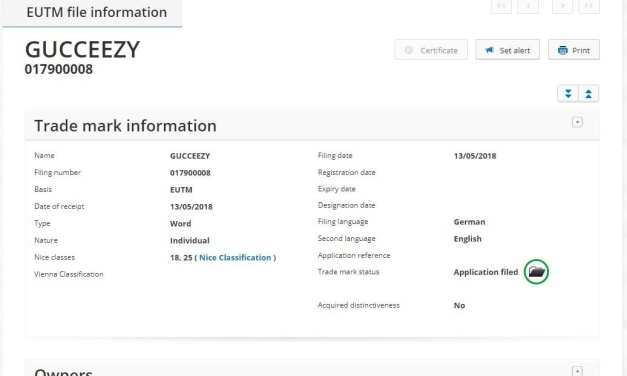 Gucceezy Trademark Application – When Gucci meets Yeezy
