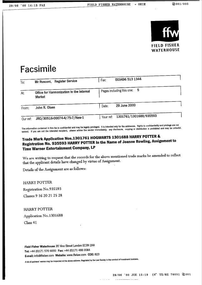 Harry Potter Trademark Assignment to Warner Brothers (Page 1)