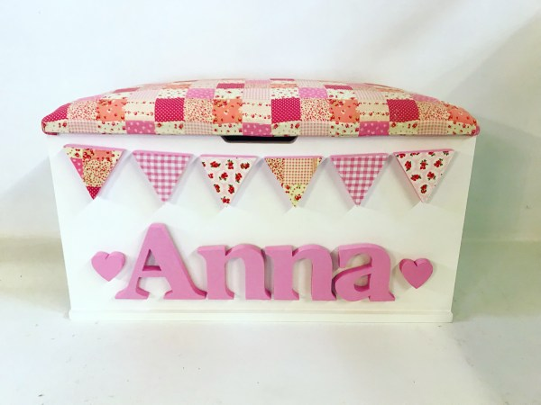 personalised patchwork bunting toy box