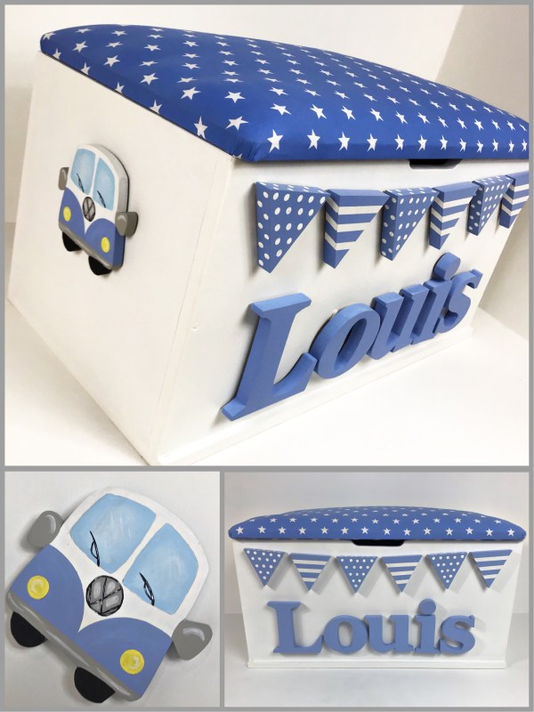 campervan toy box blue