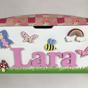 fairy butterfly pink patchwork toy box