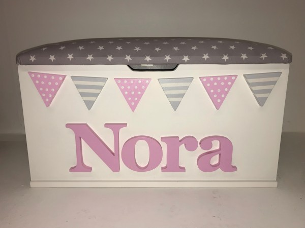 grey and pink toy box